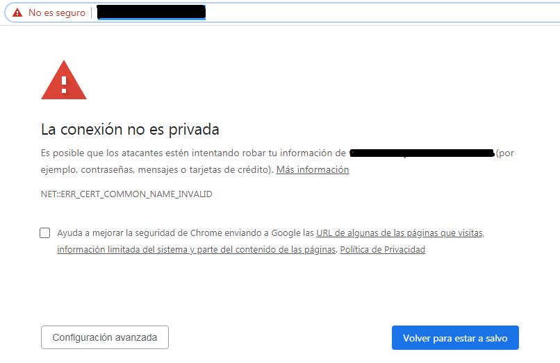 Chrome marca web como no segura