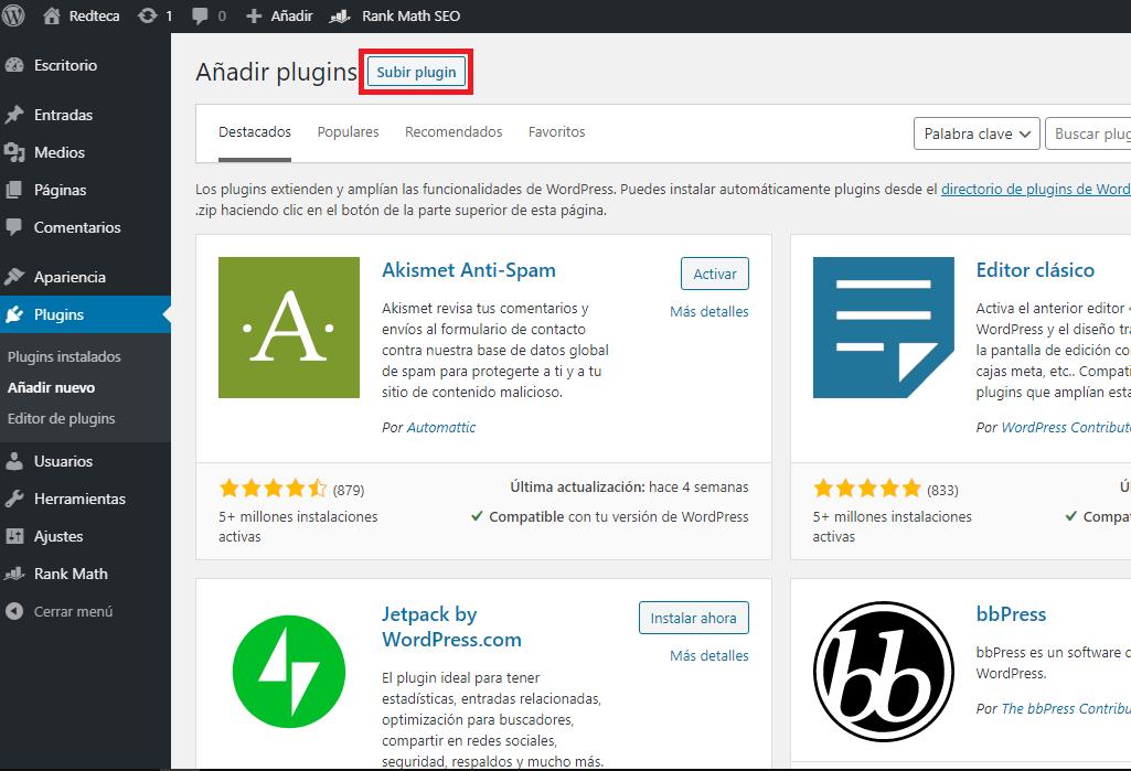 Cómo subir un plugin a WordPress