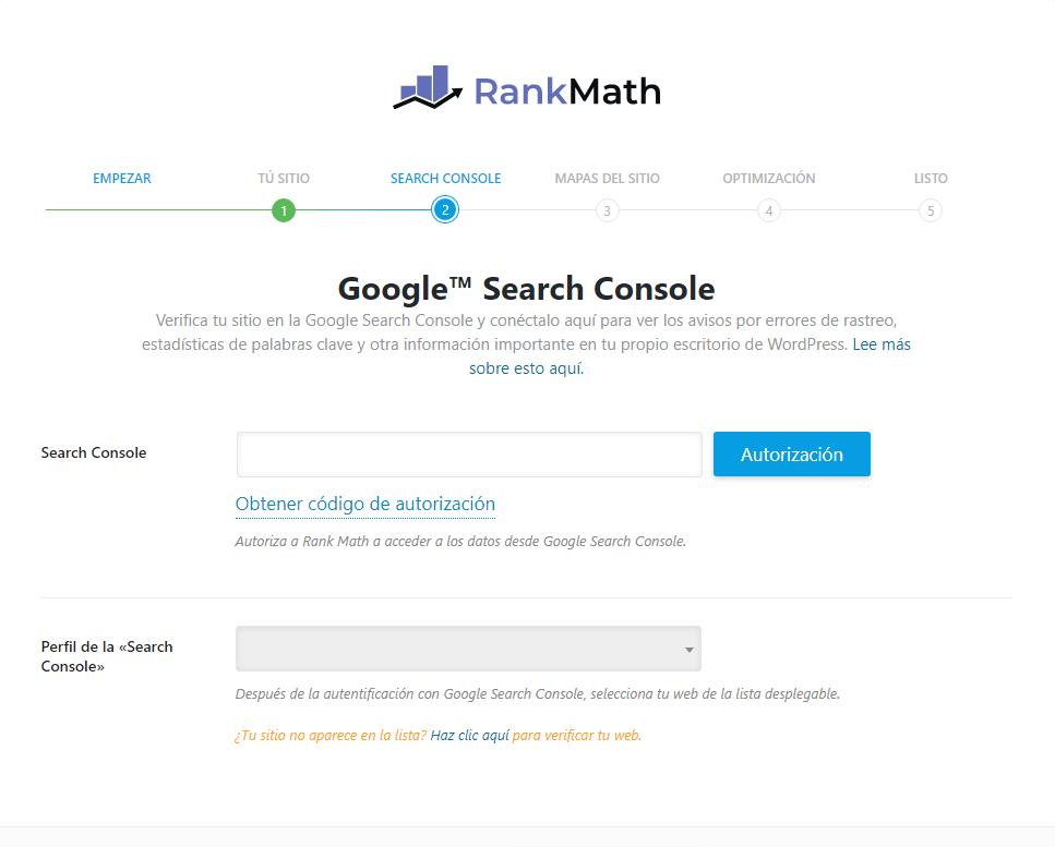 Cómo vincular Rank Math con Google Search Console