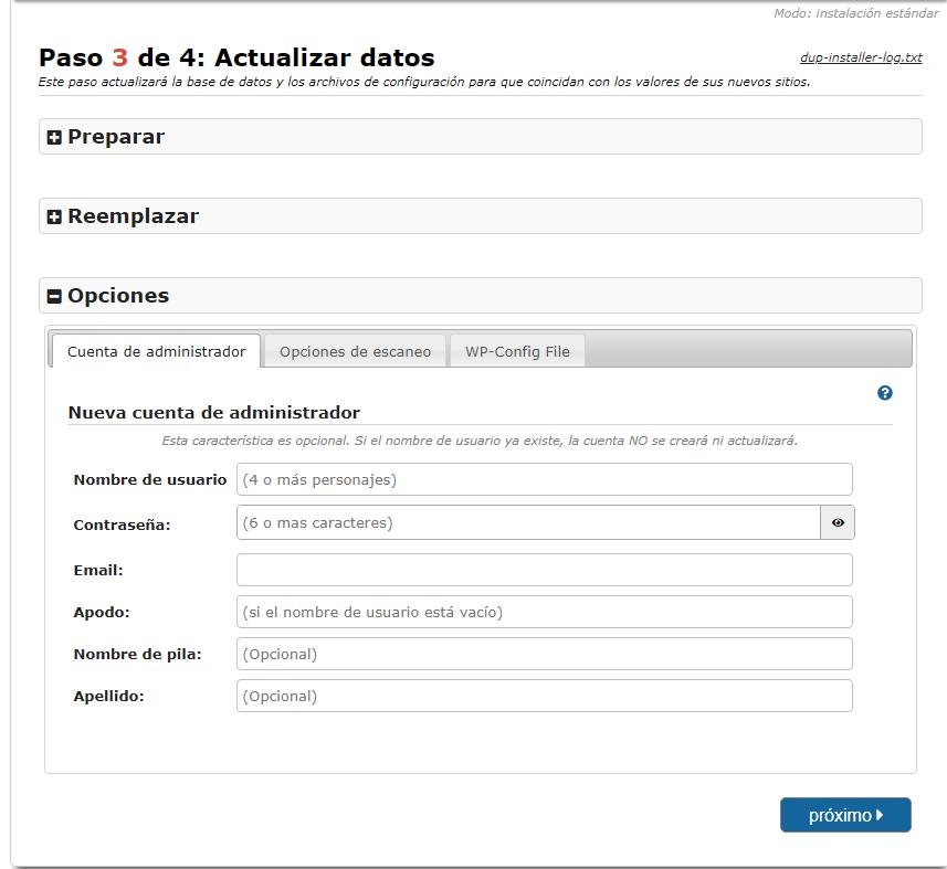 Actualización de datos en la instalacion con Duplicator Migration Plugin