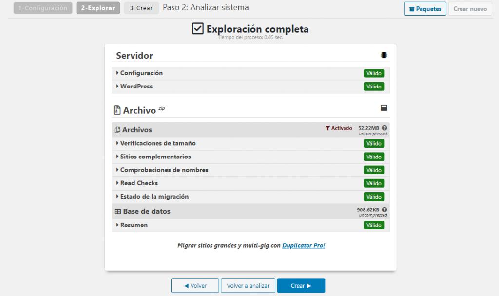 Análisis del sistema de Duplicator Migration Plugin
