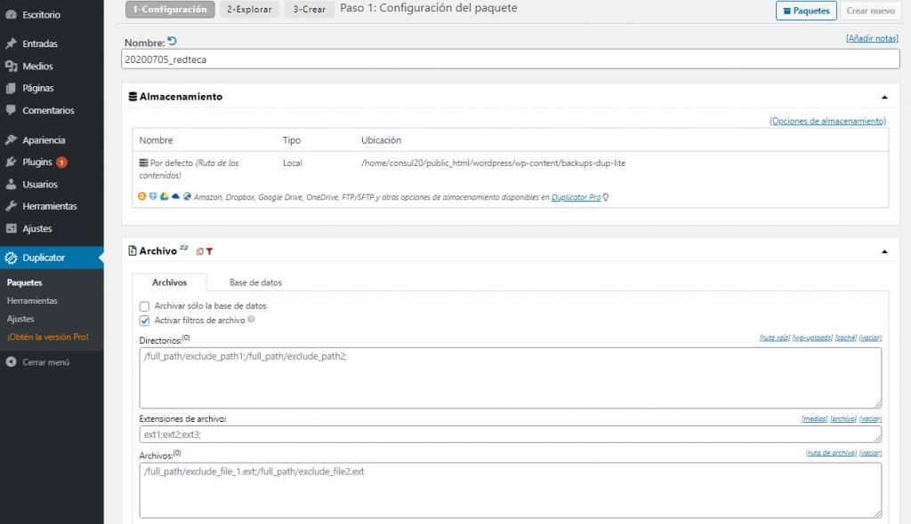 Configuración de la copia de seguridad en Duplicator Plugin