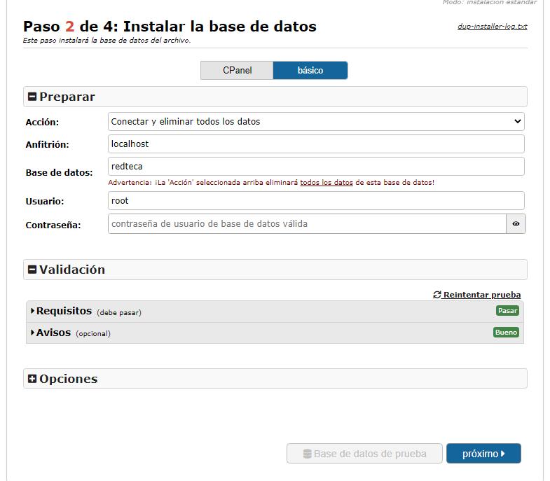 Instalación de la base de datos con Duplicator Migration Plugin