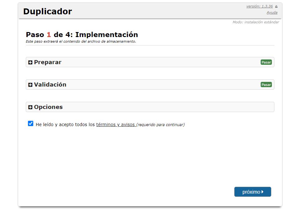 Implementación de la migración de un sitio web con Duplicator Plugin