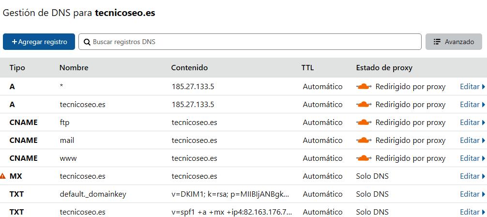 Registro de DNS. CloudFlare