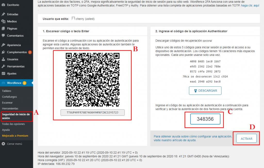 Seguridad de Inicio 2fa Plugin Wordfence Security