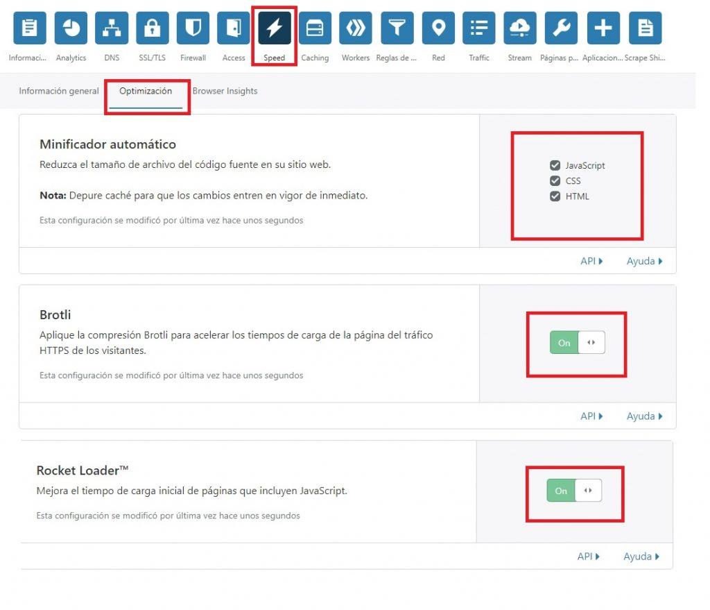 Configuración de Optimización de CloudFlare