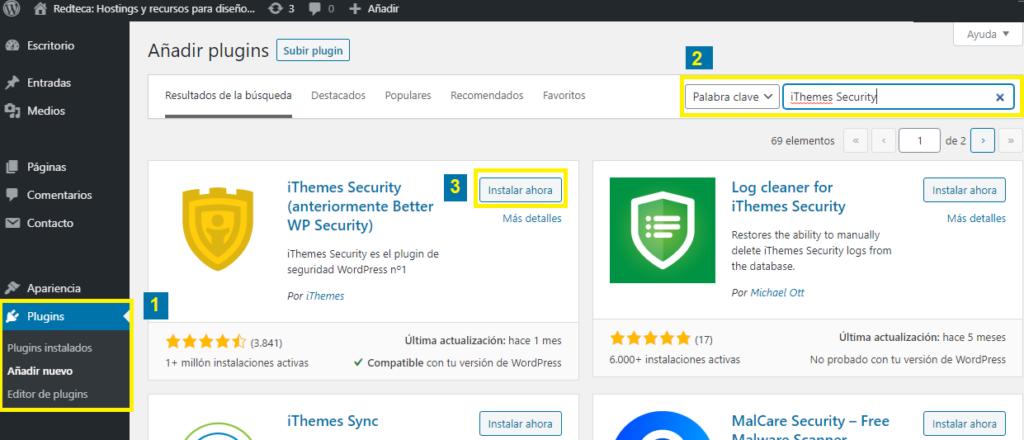 Instalación de iThemes Security Plugin