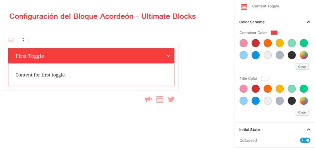 Configuración del Bloque Acordeón - Ultimate Blocks
