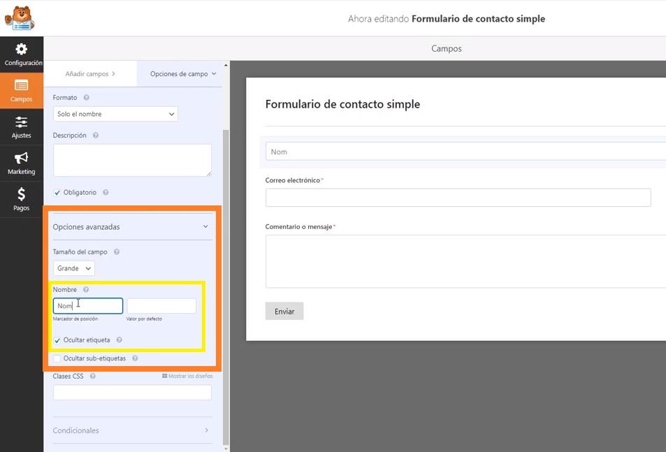 Pantalla de personalización de campos- WPForms Plugin