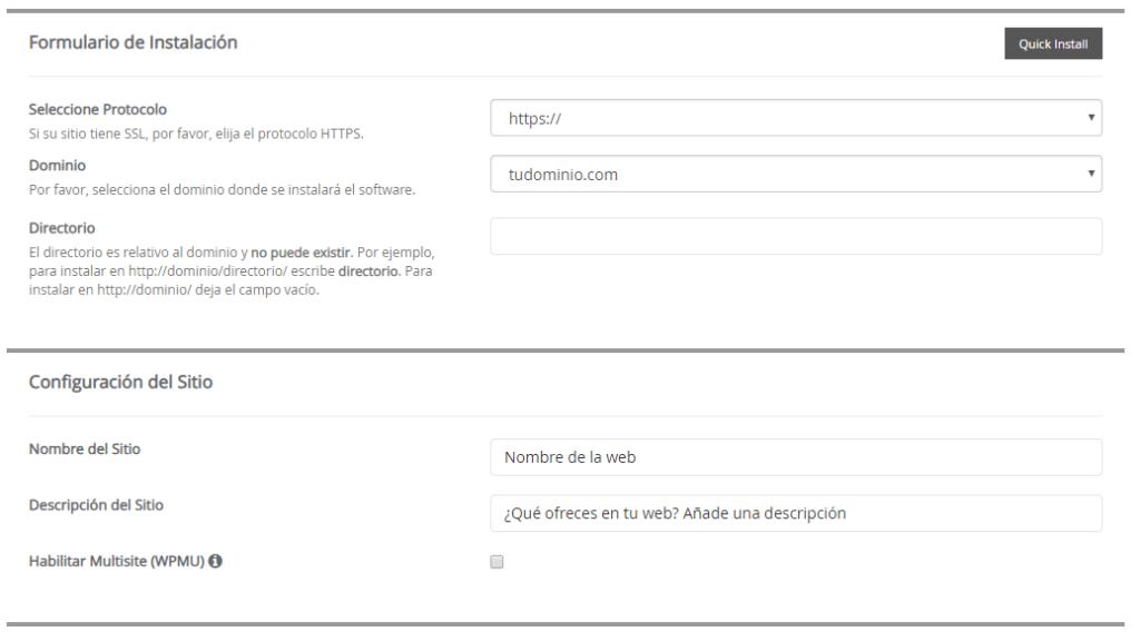 Formulario de Instalación de WordPress