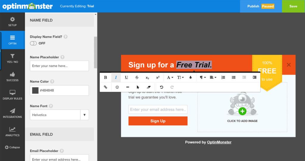 OptinMonster- Editor de formularios