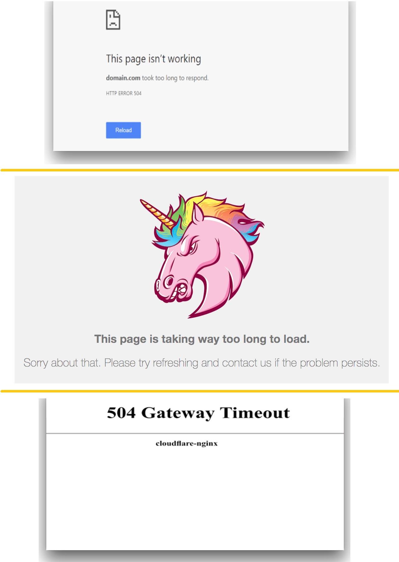 Variaciones del mensaje de error del error 504 Gateway Timeout.