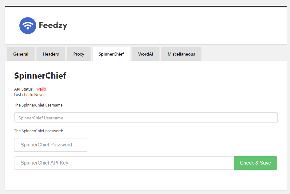 Pantalla de integración con WordIA Spinerchif en Feedzy RSS Feeds