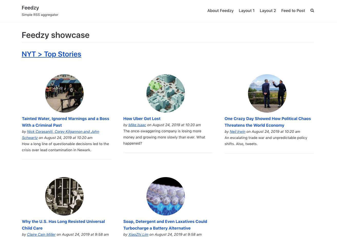 Feedzy RSS- Plantilla de parrilla de 3 columnas con imágenes circulares.