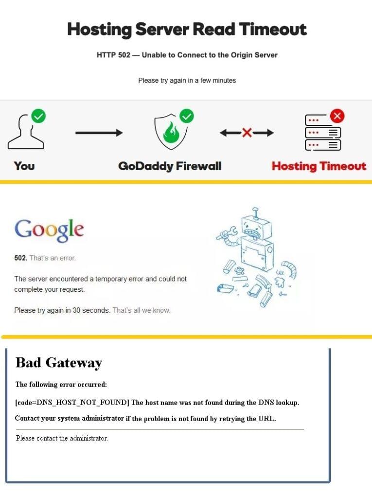Variaciones del error 502 Bad Gateway
