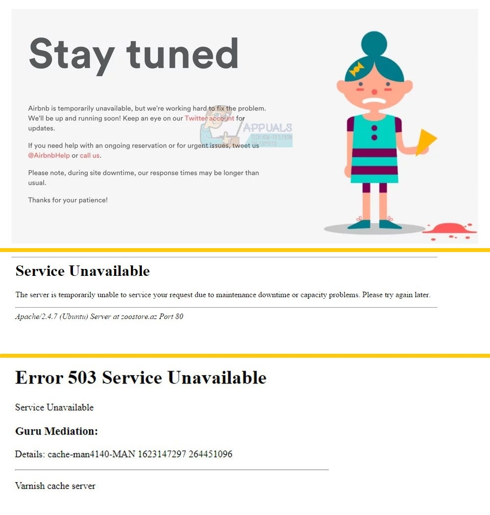 Variaciones del error 503 Service unavailable