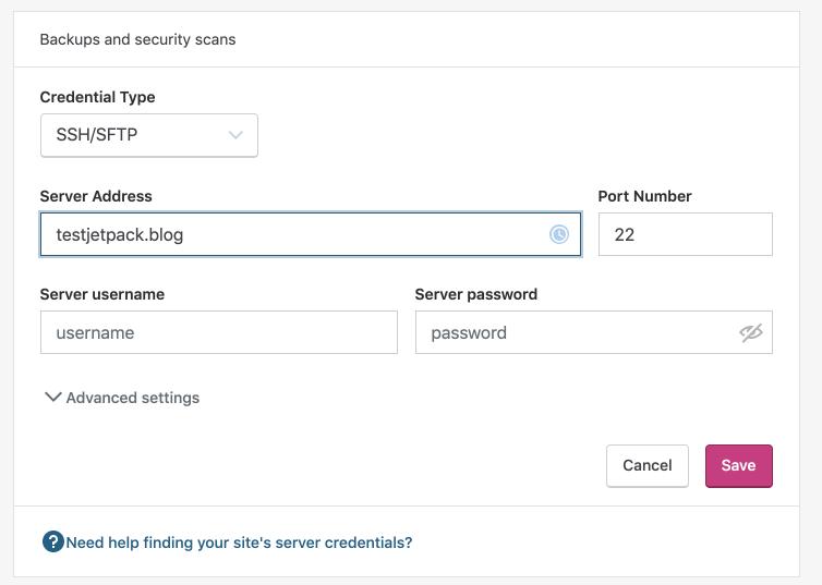Ingresando credenciales del servidor web