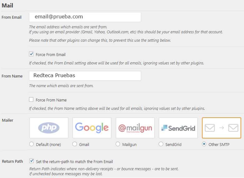 WP Mail SMTP-Configuración 1