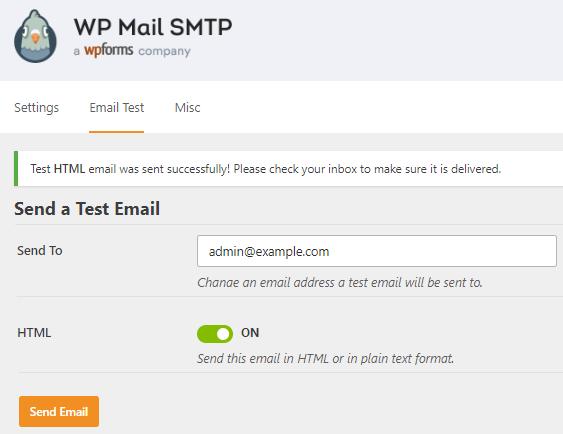 WP Mail SMTP-Prueba de configuración