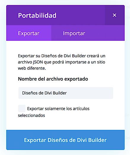 Divi theme- Importar-exportar