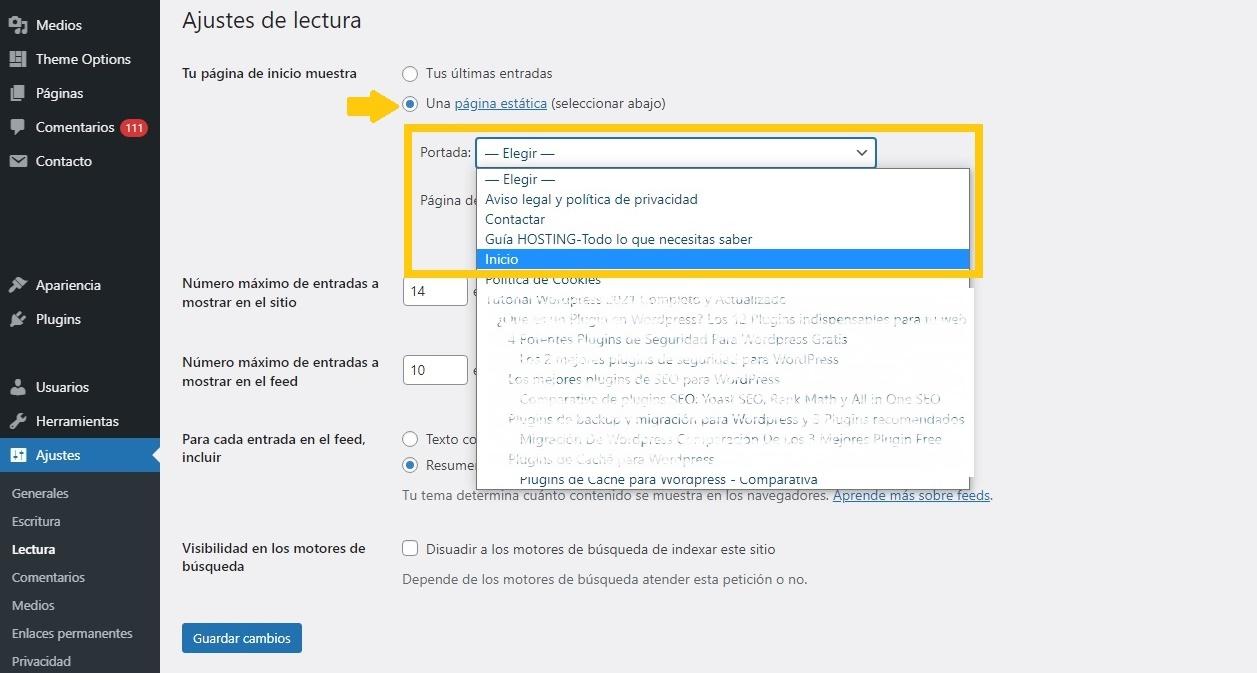 Configurando página de inicio en WordPress
