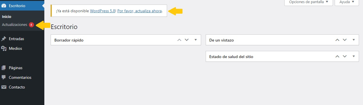 Verificando actualizaciones de WordPress