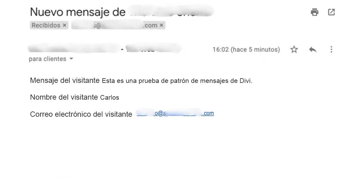 Patrón de mensaje en un email enviado.